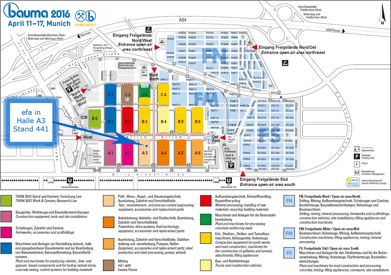 Klick für große Ansicht des Hallen- und Lageplans zur bauma 2016