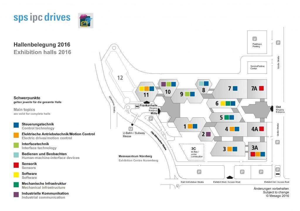 SPS IPC 2016 Nürnberg Geländeplan