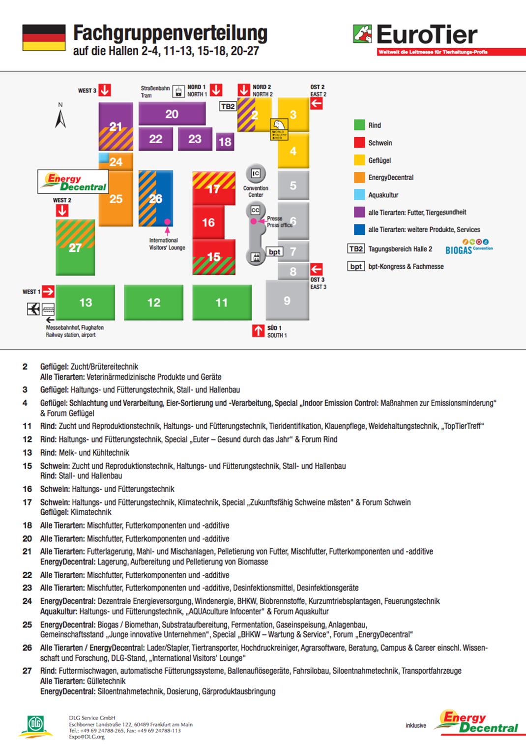 Hallenplan der EuroTier 2016 in Hannover